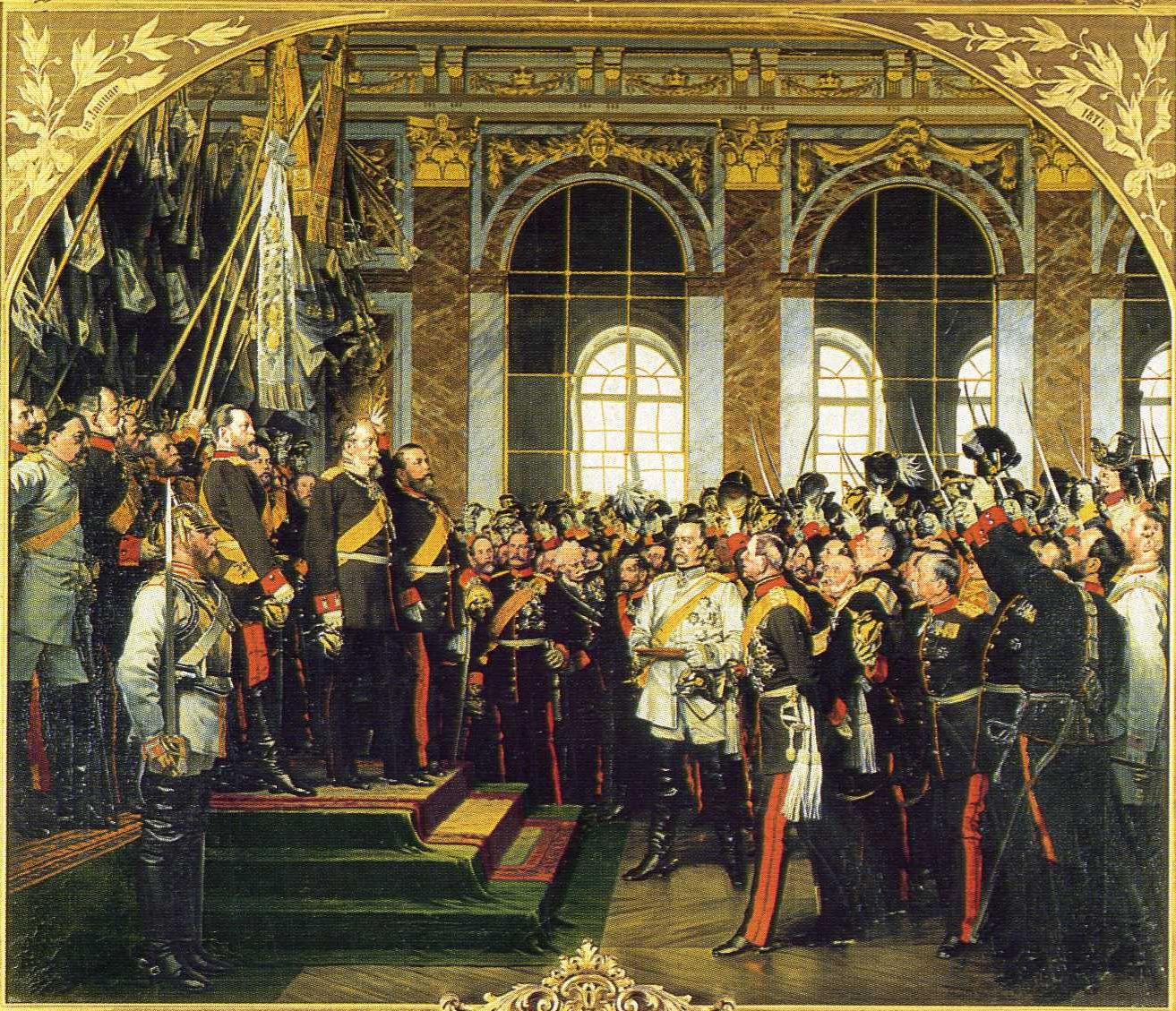 Painting celebrating the 1871 proclamation, in the French royal palace of Versailles' Hall of Mirrors, following the Franco-Prussian War, of Wilhelm I of Prussia as German emperor. Bismarck is the stout figure in white in the center. Artist: Anton von Werner.